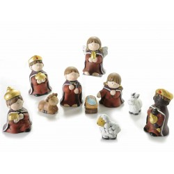 Set 10 personaggi presepe in ceramica colorata